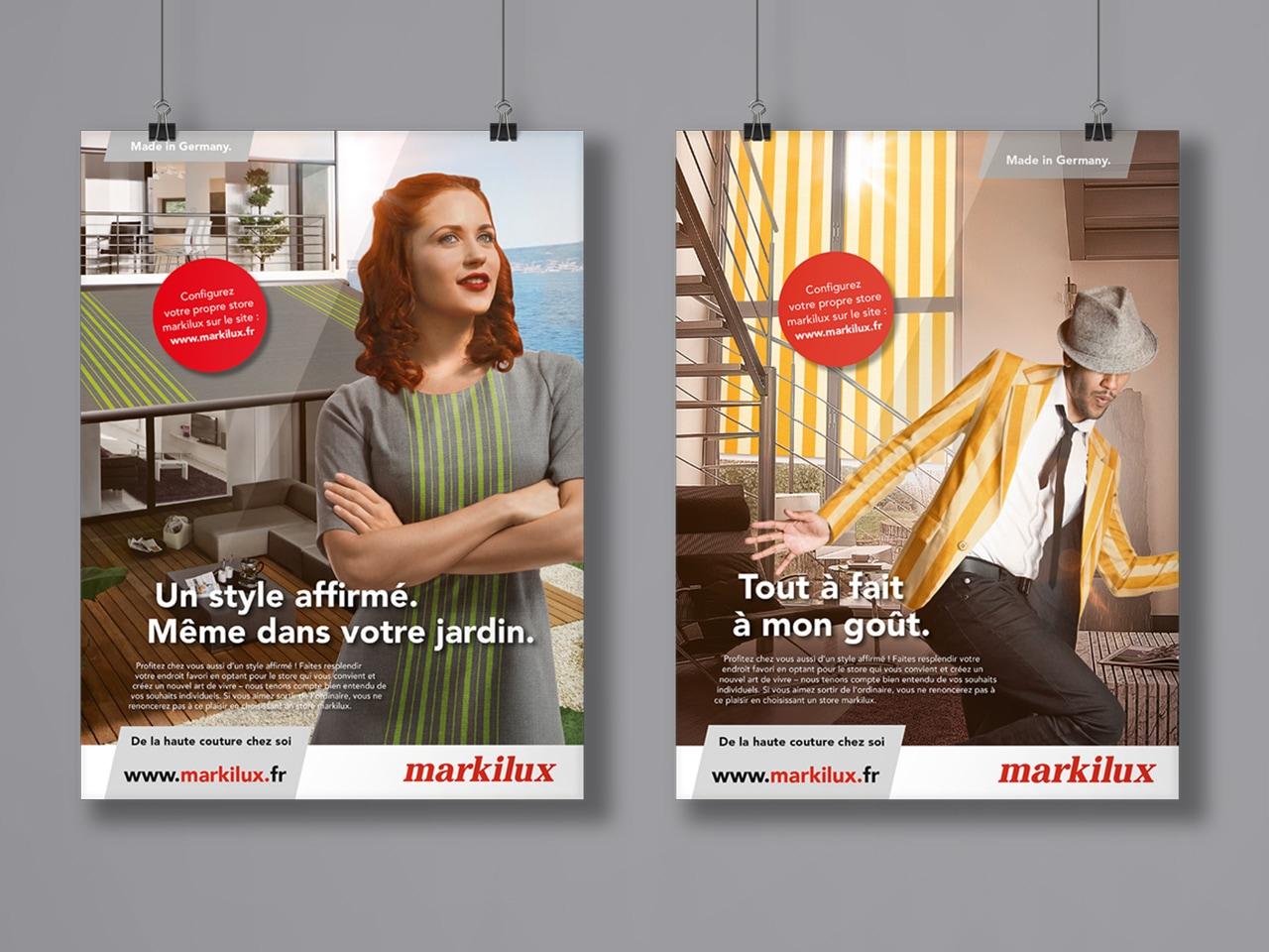 zwei Anzeigen Markilux nebeneinander Mann und Frau